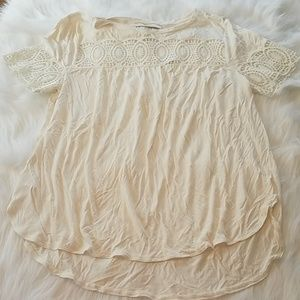 NEW Loft Sz Large Cream Crocheted Boho Hippy Tee